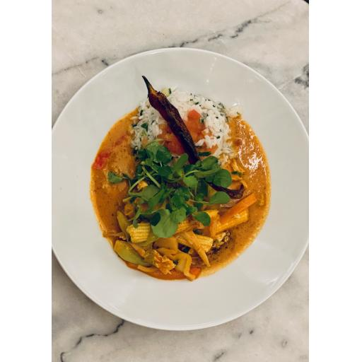 Thai style red chicken curry and sticky aromatic Jasmine rice