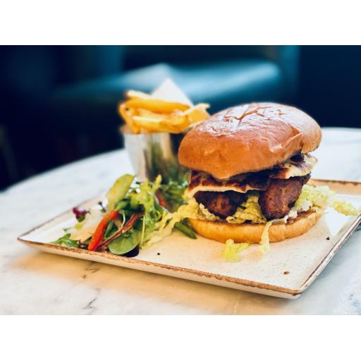 Falafel and halloumi burger
